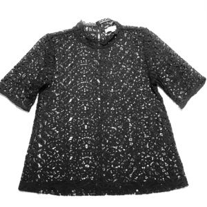 Loft Charcoal Gray Lace Top - small